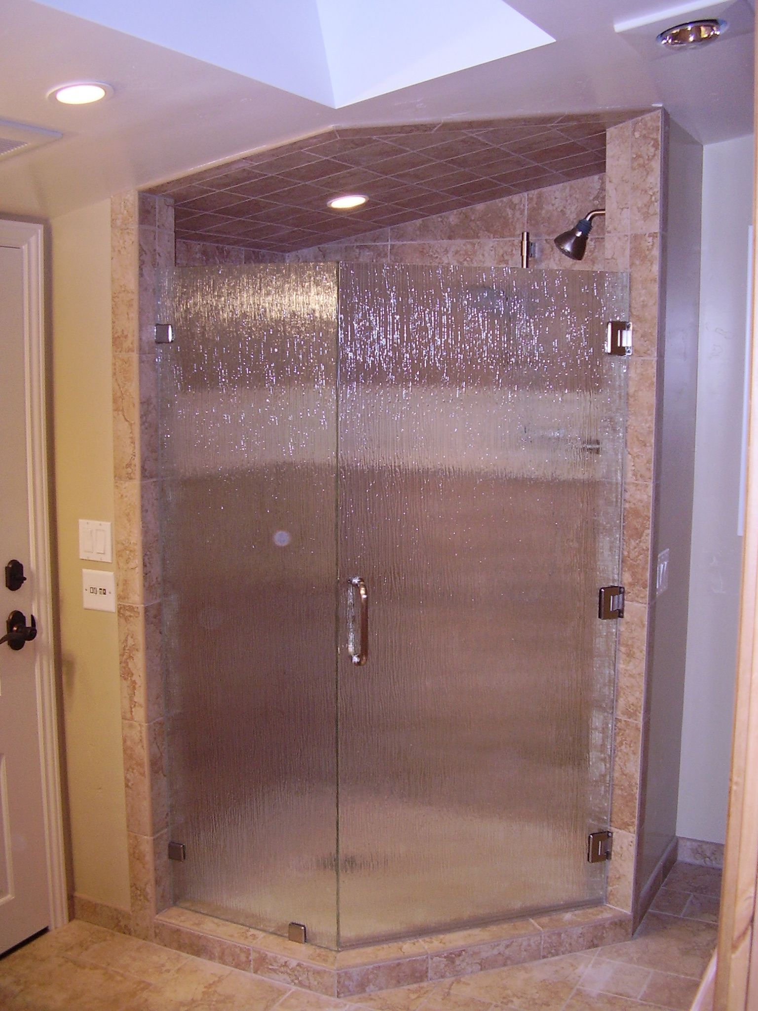 Cozy Bathroom With Delightful Neo Angle Shower Shower Tile Ideas