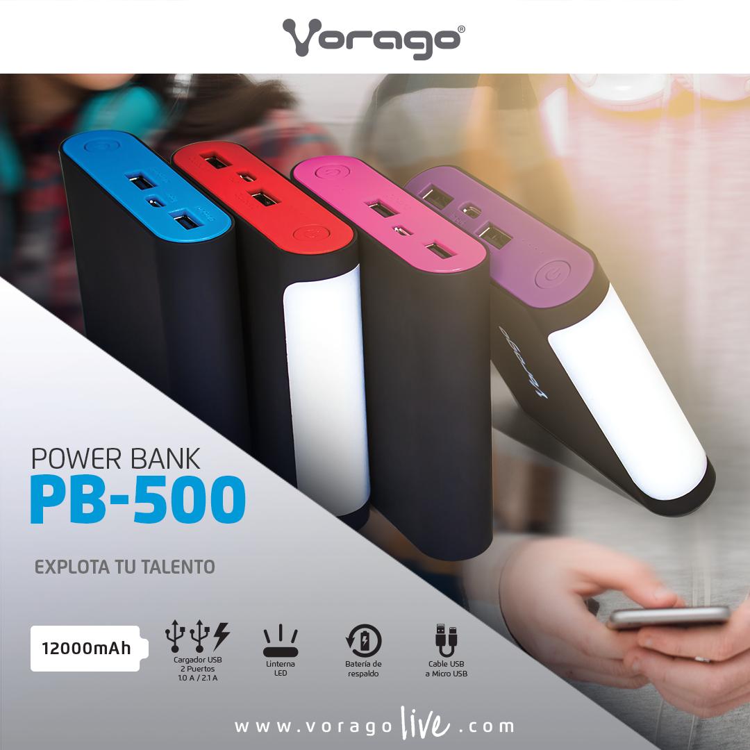 Power Bank Pb 500 De Vorago Usb Puertos Usb Cable Usb