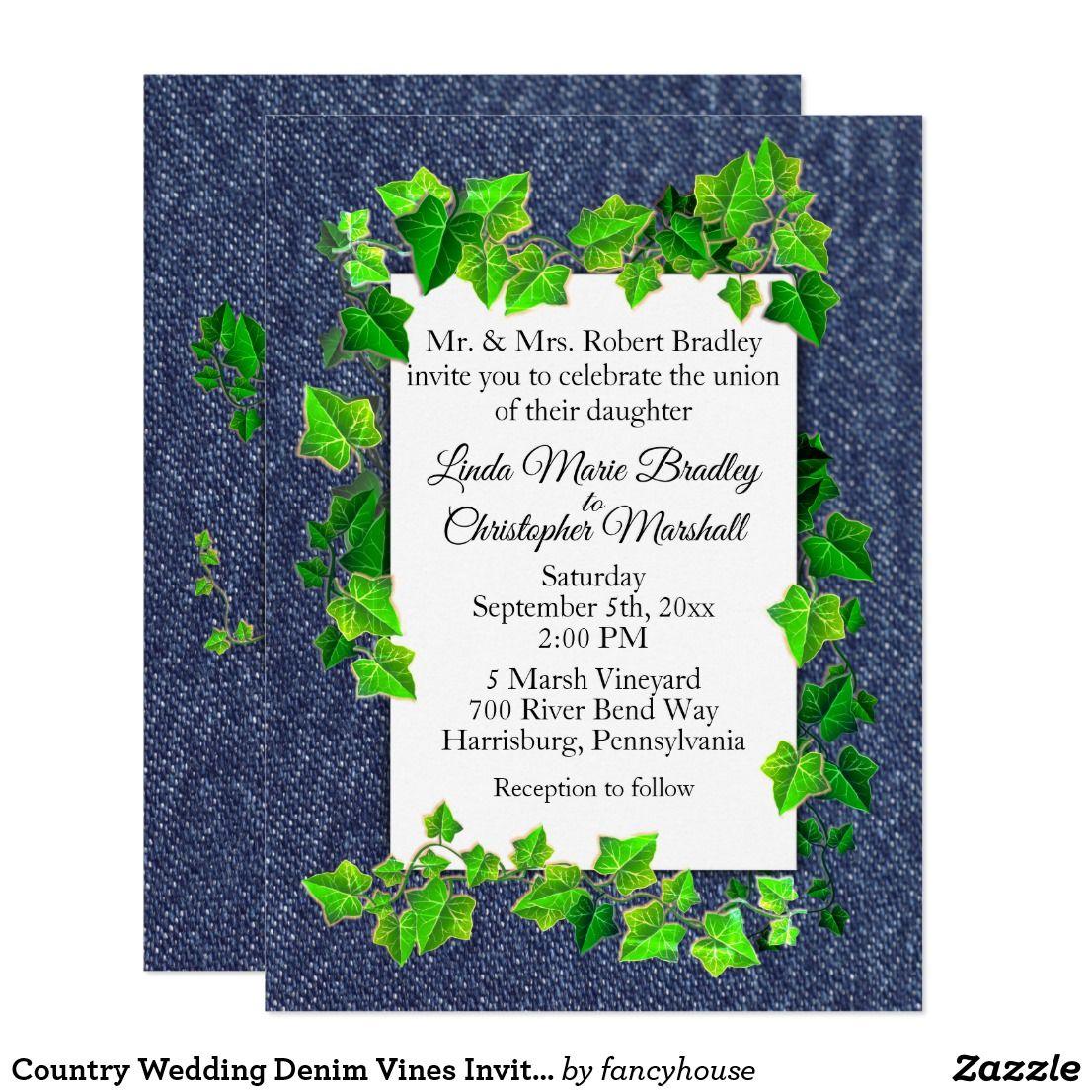 Country Wedding Denim Vines Invitation   Wedding & Bridal Shower ...