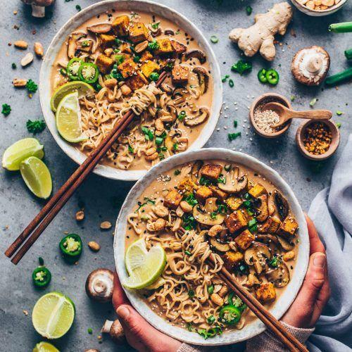 Thai Peanut Noodle Soup - Ramen (Vegan) - Bianca Zapatka   recipes -  Thai peanut noodle soup. Creamy coconut curry, fried mushrooms, crispy tofu. Japanese vegan ramen s - #bianca #cauliflowerrecipes #noodle #peanut #pizzarecipes #quesadillarecipes #quinoarecipes #ramen #recipes #Soup #Thai #vegan #zapatka
