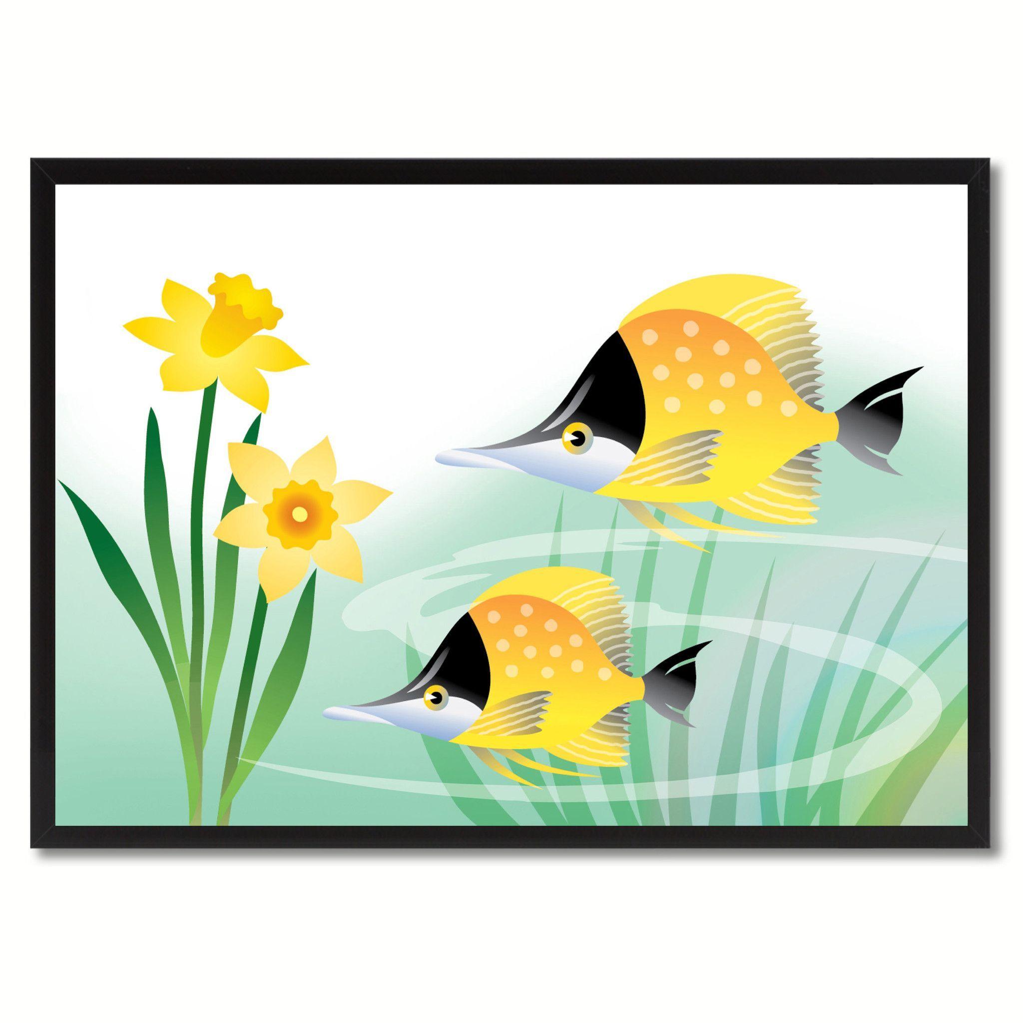Fish & Flower Illustration Canvas Prints Frames Kids Room Décor Wall ...