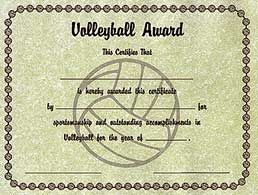 Volleyball award certificates printed on 85 x 11 parchtone volleyball award certificates printed on 85 x 11 parchtone stock these economical yelopaper Image collections