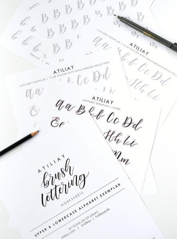 Brush Lettering Worksheet, Brush Lettering Alphabet ...
