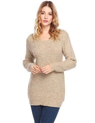 6165bd5b3ba5b Zeela Femme Automne Hiver Pull En Tricot Col Rond Pullover Sweater Chaud