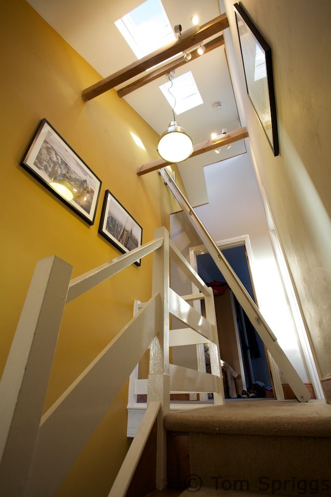 Mezzanine Loft Conversion innovative use of pull-out ladder to access mezzanine style loft