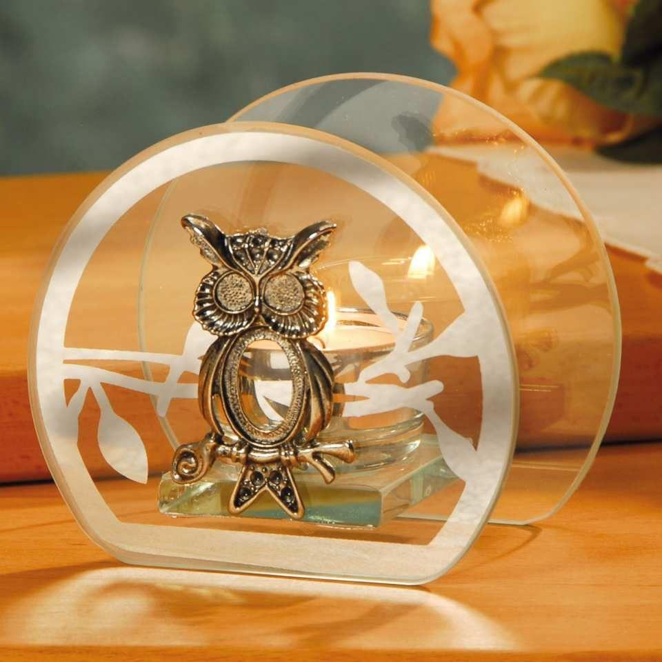 Runder Glas Teelichthalter Eule Fur Die Herbst Winter Zeit Die Mit Einer Silbern Glanzenden Eule Verzierten Glaselemente Owl Abajur Candelabros