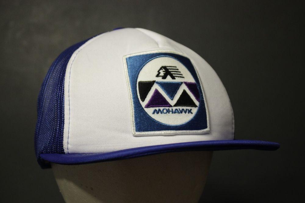 744861089e0196 Vintage Mohawk Trucker Hat Cap Mesh Patch Snapback Blue White Retro Hipster  #HaT #Trucker