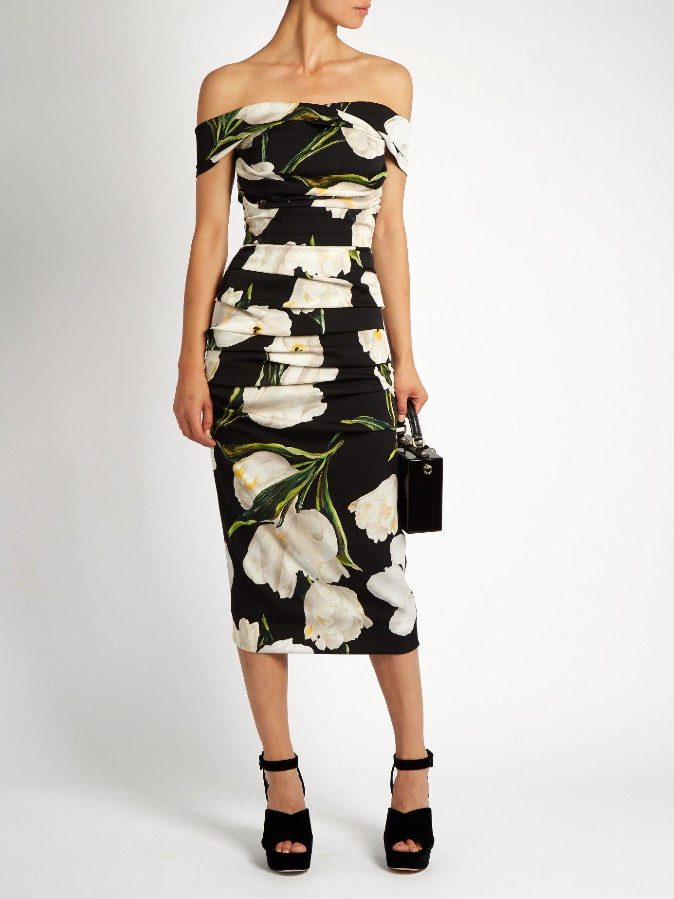 Tulip-print off-the-shoulder dress | Dolce & Gabbana | MATCHESFASHION.COM UK