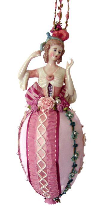 Antique pink porcelain half-doll Decoration