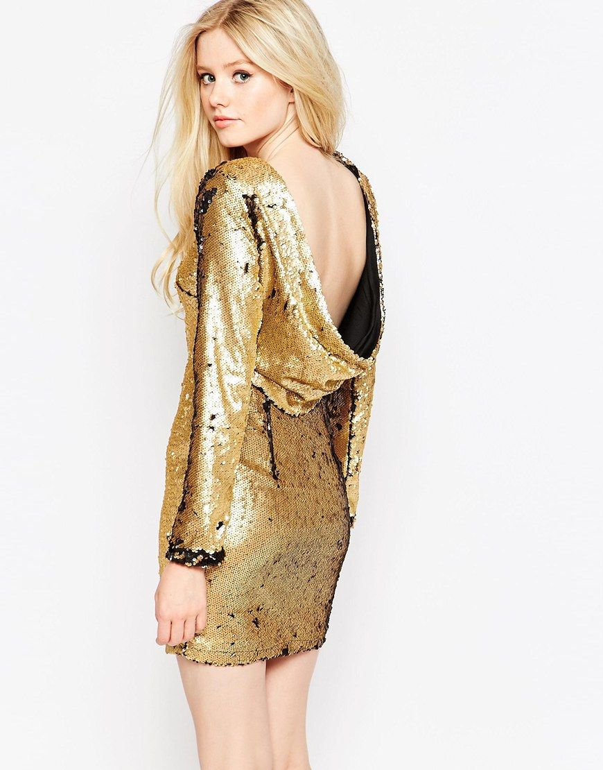 Girl in mind sequin shift dress with long sleeves sparkle