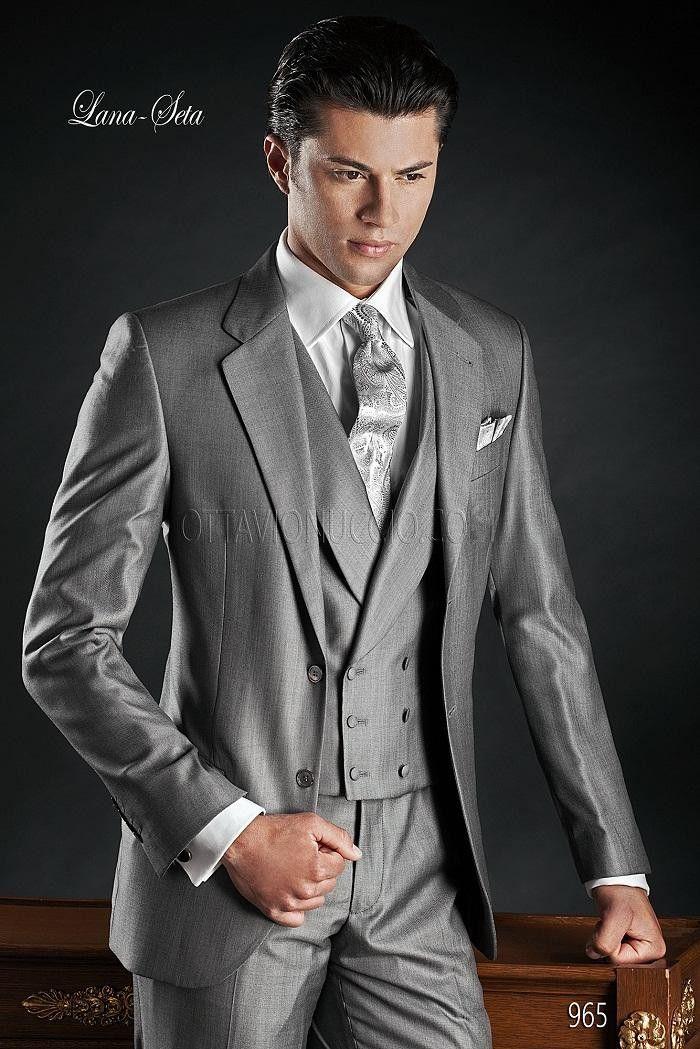 Click to Buy << Custom Design Two Button Light Grey Groom Tuxedos ...