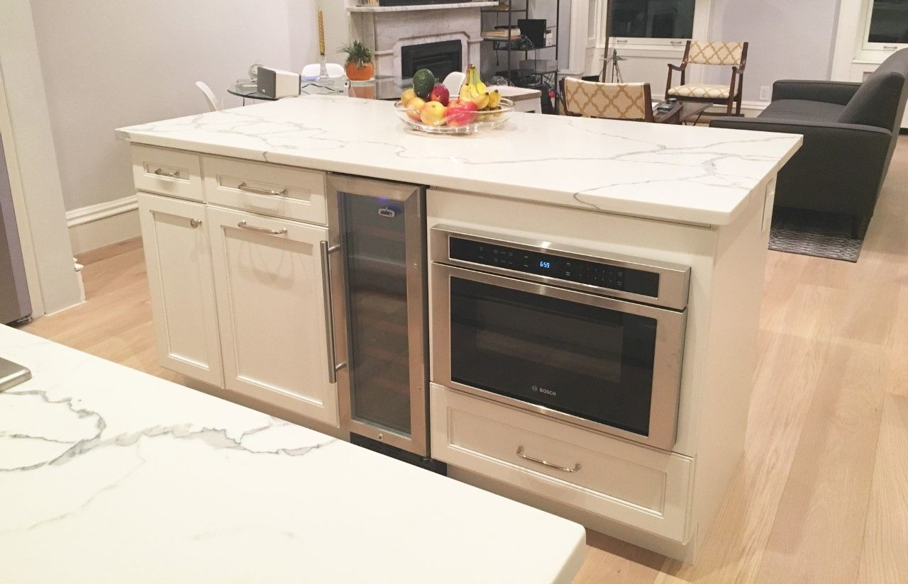 We Used This Clever Little Space For A Wine Cooler And Added A Multifunction Oven To The Isl With Images Kitchen Remodel Design Kitchen Cabinet Design Kitchen Cabinets Nyc