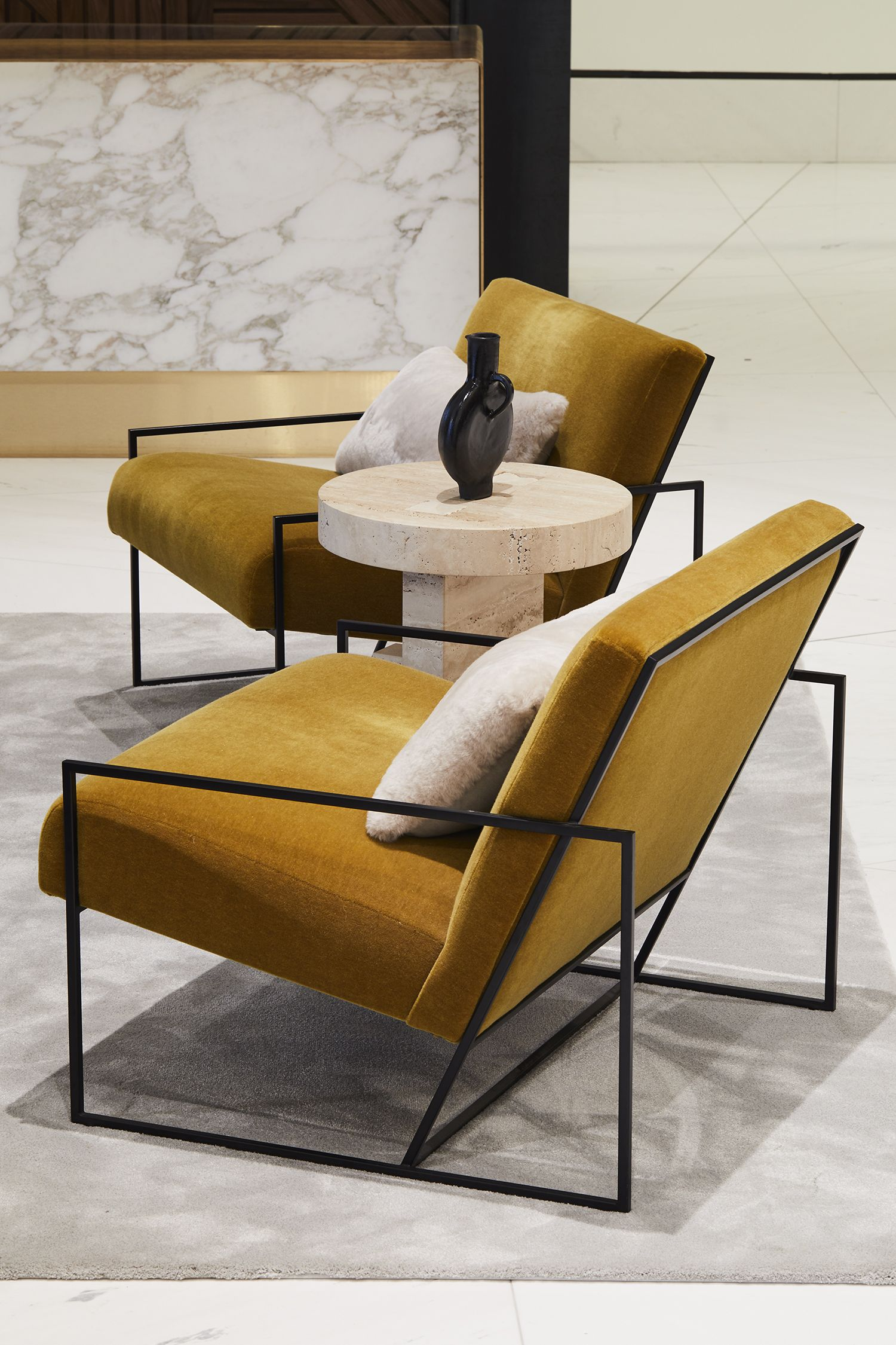 Summer Street Lobby By Atelier Cho Thompson Metal Sofa Minimalist Sofa Modern Lobby Furniture