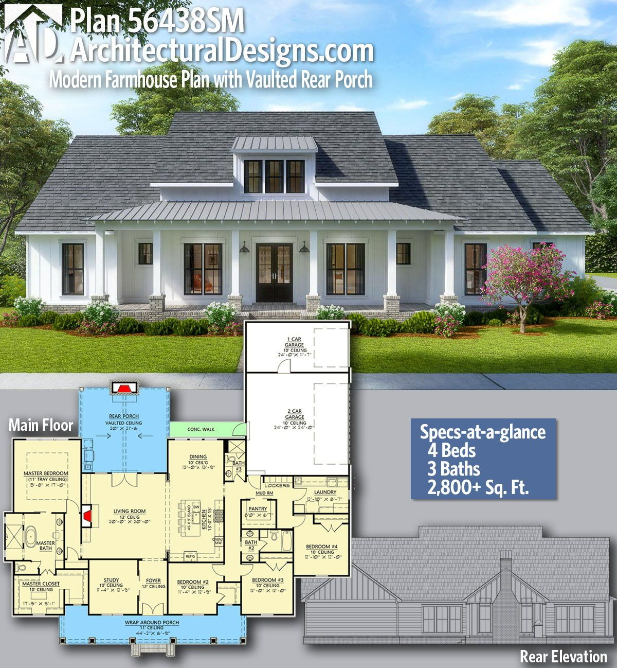 Plan 56438sm Modern Farmhouse Plan With Vaulted Rear Porch Modern Farmhouse Plans Farmhouse Plans New House Plans