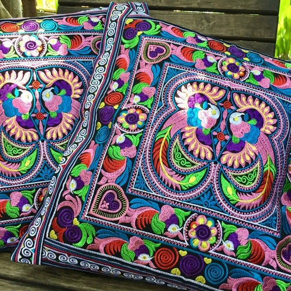 Boho Embroidery Bird Motif Flowers Tribal Hmong Th