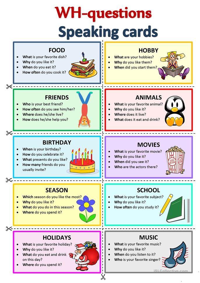 WHQuestions Speaking cards Conversation en anglais