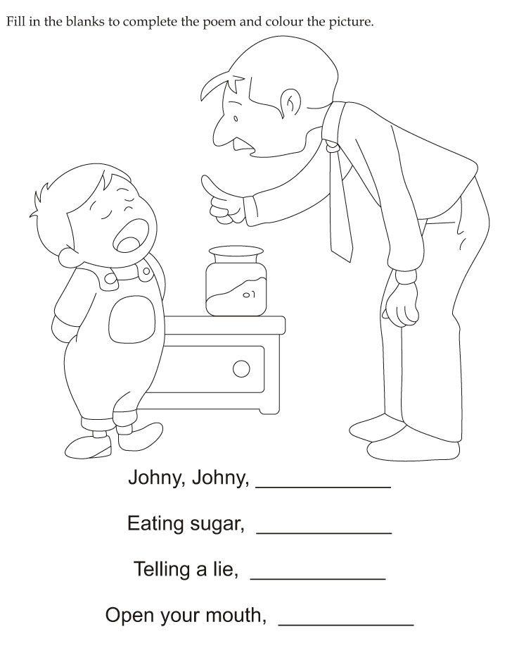 Fill In The Blanks To Complete The Poem And Color The Picture Nursery Rhymes Lyrics Nursery Rhymes Preschool Nursery Rhymes Activities Free nursery rhymes worksheets for