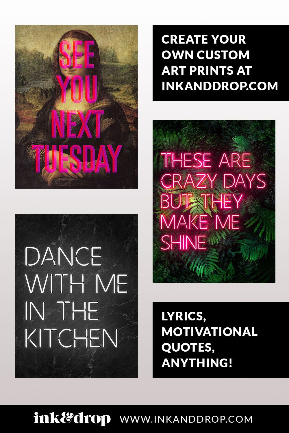 Super cool customisable Neon art prints and type posters. Typography and inspirational quotes for your wall decor. Create a truly unique home interior style with a custom art poster! #neon #neonart #inkanddrop #typography #inspirational #motivational #feelgood