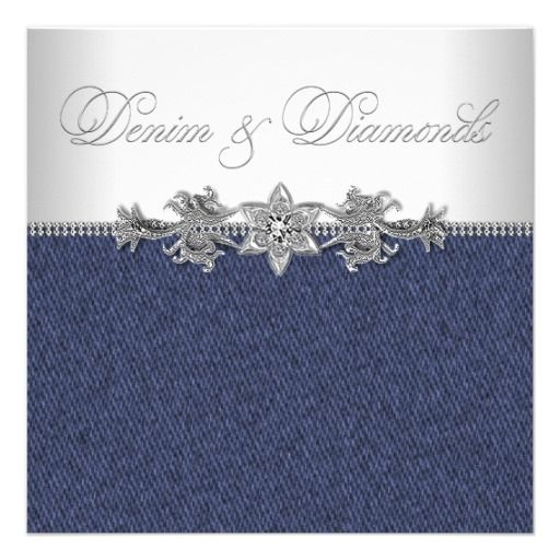 Elegant Denim and Diamonds Party Invitation | Zazzle.com ...