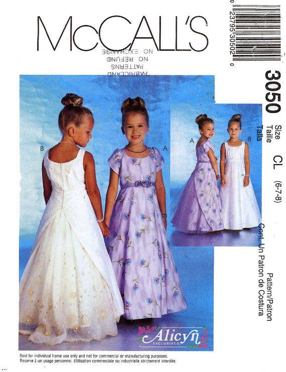 McCalls 3050 girls flower girl dress sewing pattern Size 6 7 8 ...