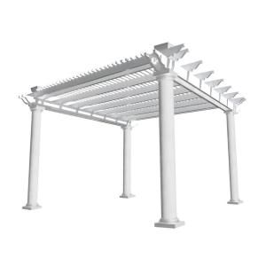 Weatherables Biscayne 12 Ft X 12 Ft White Double Beam Vinyl Pergola Ywpg Hdb8 12x12 The Home Depot Vinyl Pergola Pergola Pergola Shade