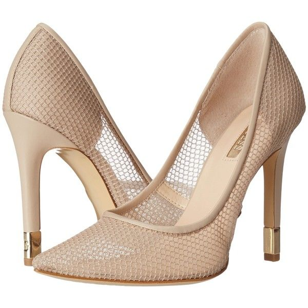 GUESS Babbitt (Natural Fabric) High Heels ($60) ❤ liked on Polyvore featuring shoes, pumps, neutral, pull on shoes, sparkly shoes, guess footwear, sparkly high heel shoes and guess shoes