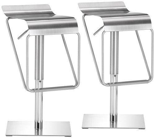 Set Of 2 Zuo Dazzer Adjustable Height Steel Counter Stools