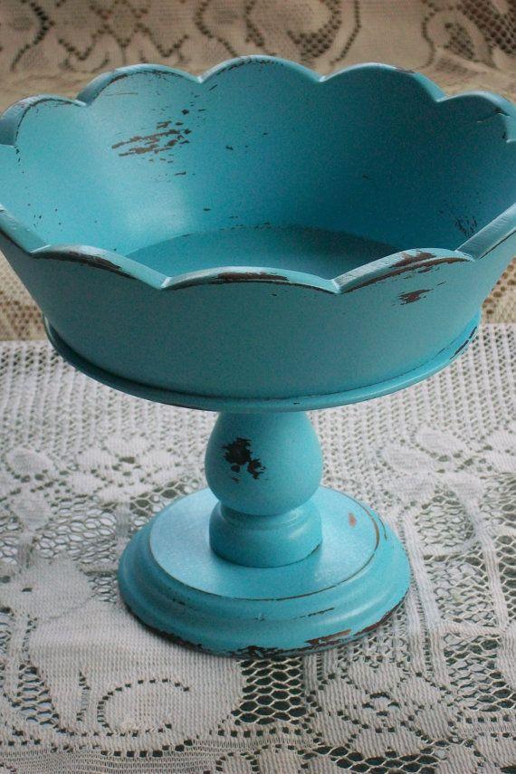 turquoise pedestal bowl