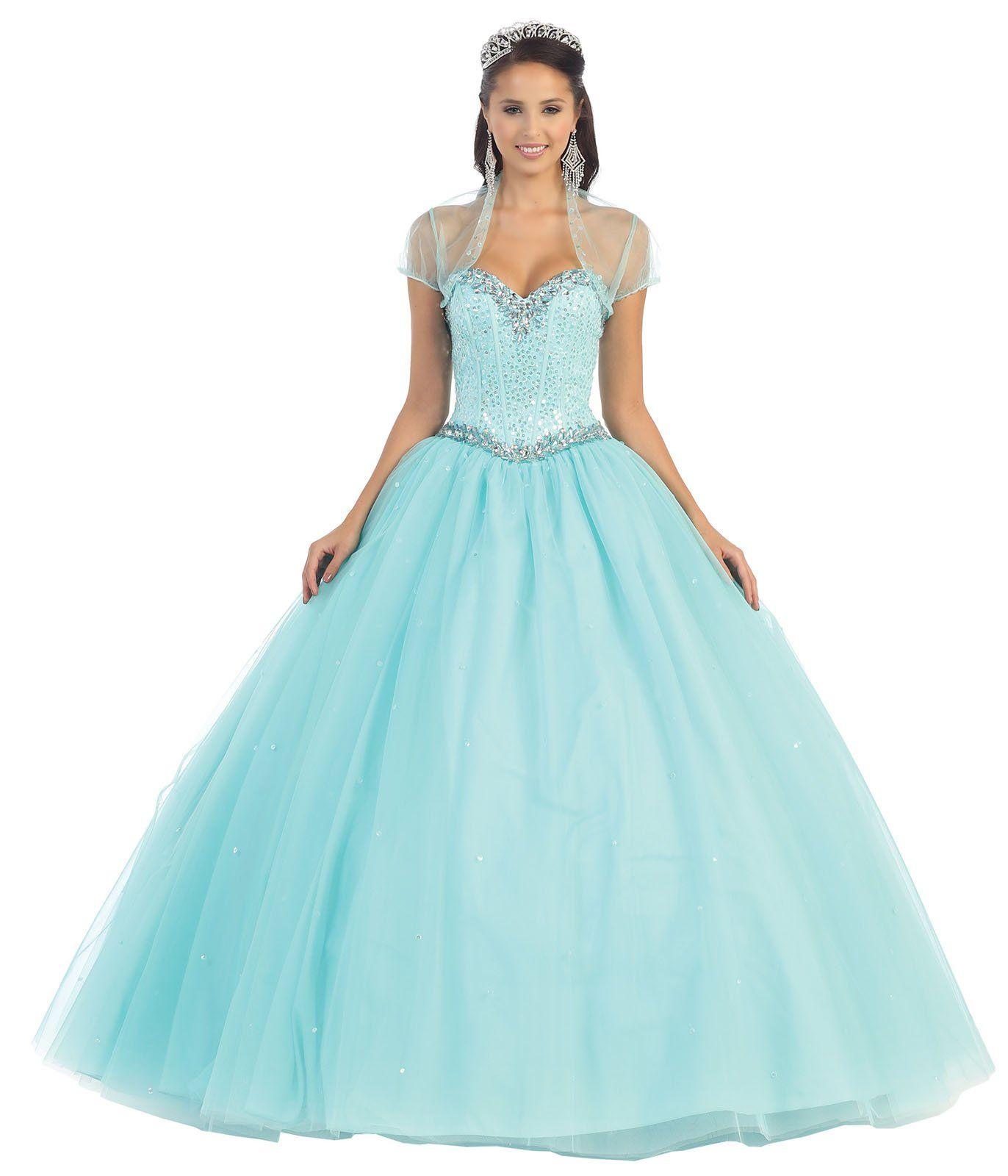 Layla K LK47 Sweetheart Cinderella Ball Gown (12, Aqua) | Apparel ...