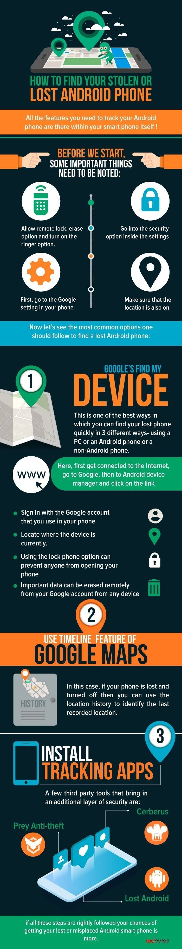 How To Find Your Stolen or Lost Android Phone Infographic