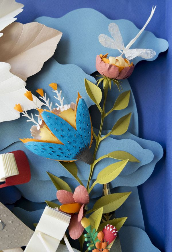 Paper Sculpture. Garden of Books. by Elsa Mora, via Behance