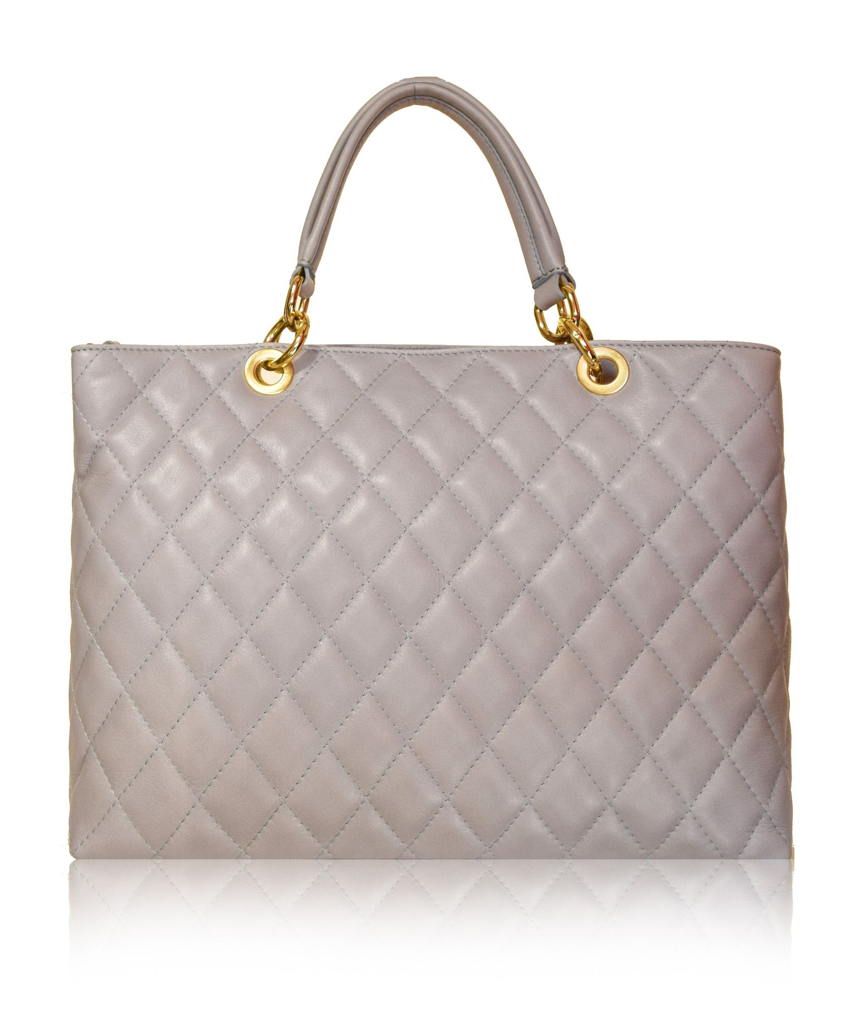 Strozzi Grand Ping Tote Gst Chanel Style Grey Quilted Leather Handbag From Florence Collection