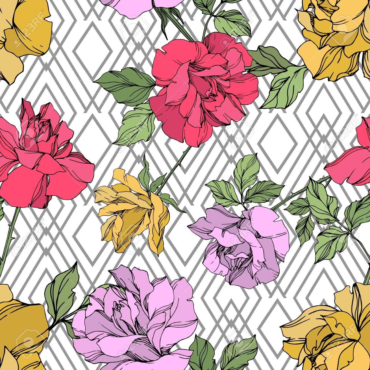 Vector Rose floral botanical flower. Wild spring leaf wildflower isolated. Yellow, red and violet engraved ink art. Seamless background pattern. Fabric wallpaper print texture. , #Aff, #leaf, #spring, #wildflower, #Yellow, #isolated