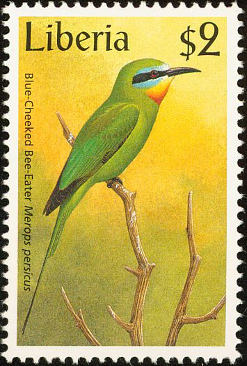Blue-cheeked Bee-eater stamps - mainly images - gallery format