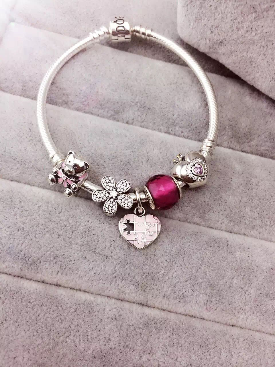 50 Off 159 Pandora Charm Bracelet Pink Purple Hot