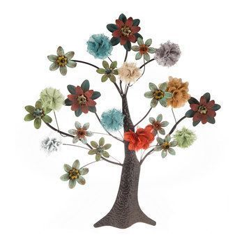 Tree Metal Wall Decor With Flowers