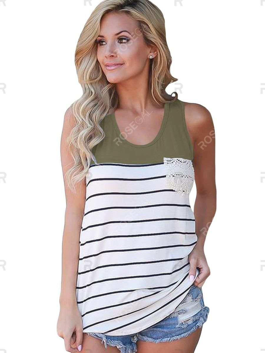 Stripes Crochet Panel Front Pocket Tank Top #crochettanktops