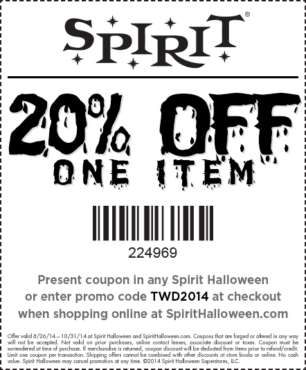 Pinned September 15th: 20% off a single item at Spirit #Halloween ...