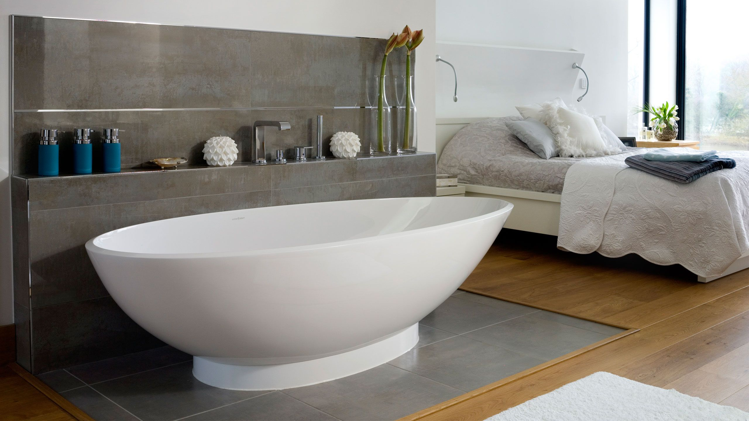 kohler cast iron freestanding tub. would be nice to have ledge near tub for setting soap etc during bath  Napoli Bath by Victoria Albert Baths Sdb Pinterest