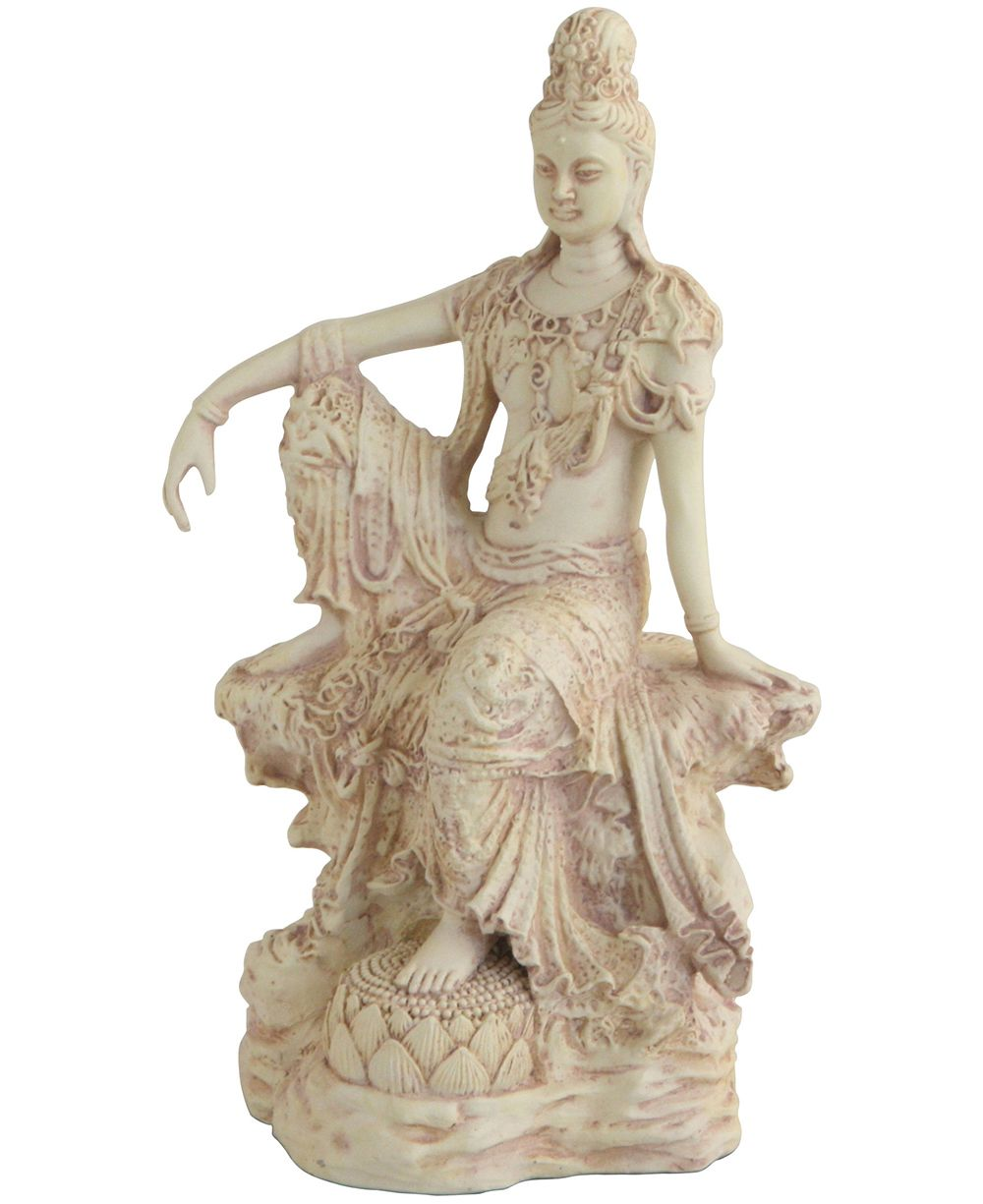 Good Ornate, Ivory Colored Statue Features The Beloved Figure, Kuan Yin,  Elegantly Seated Atop A Pedestal. 10.5 Inches.