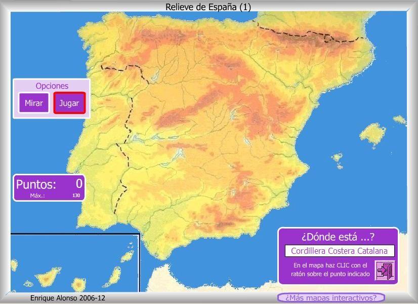 Mapa Interactivo De España Relieve De España Dónde Está Relieve España Mapa Interactivo Mapa Fisico De España