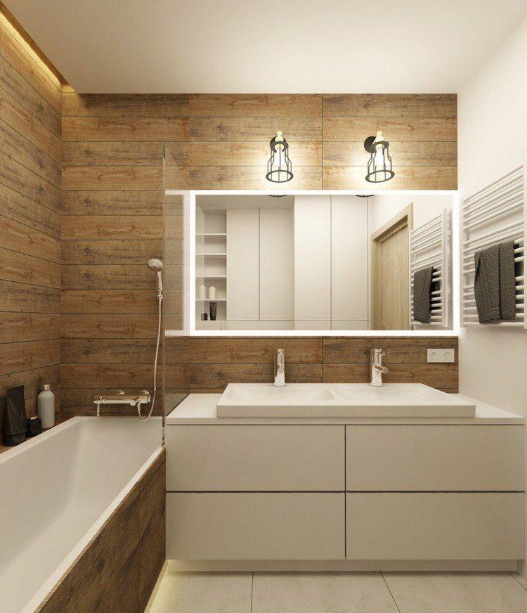 holz wandverkleidung im bad und weiße badmöbel | einrichtung bad, Hause deko