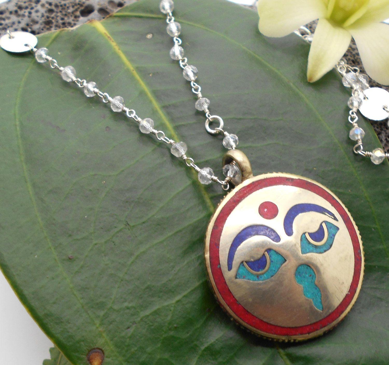 Delicate Moonstone Eyes of Buddha Necklace - Prayer beads, meditation, yoga…
