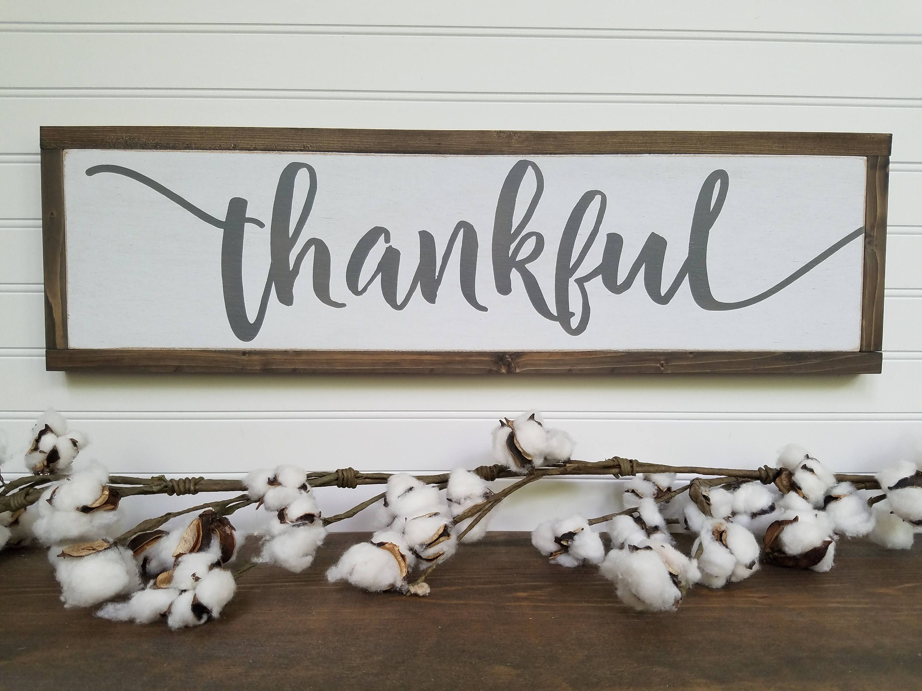 Wooden Decor Signs Magnificent Thankful Wood Sign  Thankful Wooden Sign  Thankful Sign Design Ideas