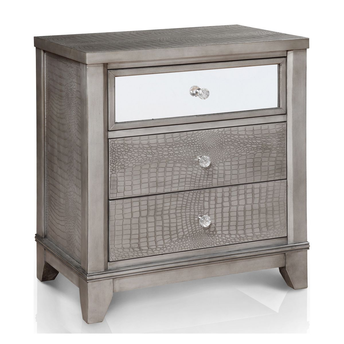 Furniture Of America Kivo Modern Silver Solid Wood 3 Drawer Nightstand Mirrored Nightstand Nightstand 3 Drawer Nightstand
