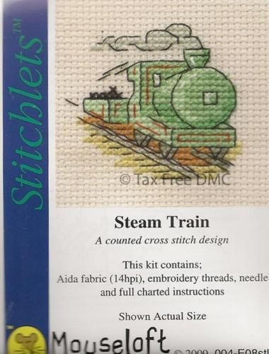 VAT-Free-Mouseloft-Stitchlet-Steam-Train-Counted-Cross-Stitch-Kit-New