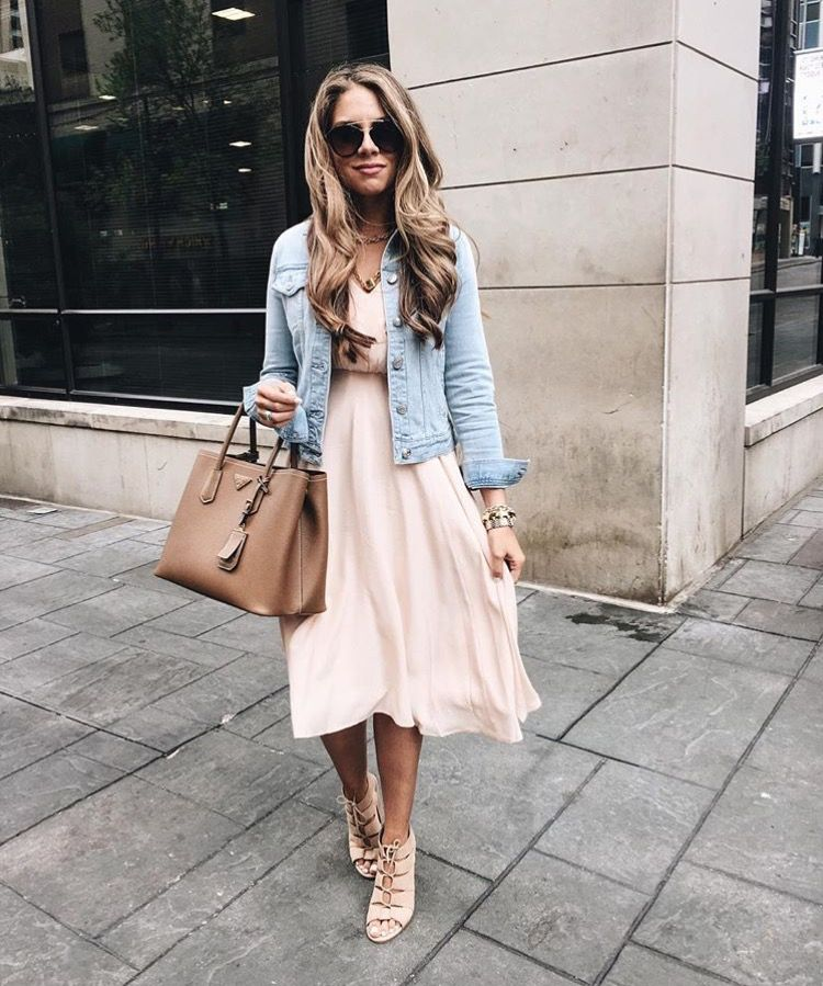 fec610fd57 Blush dress with denim jacket with lace up heels