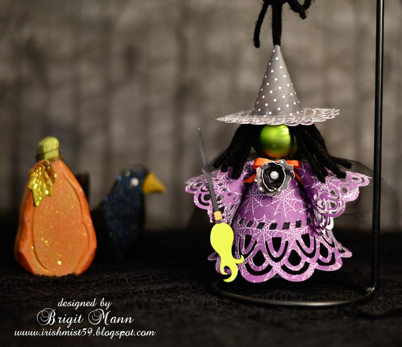 Brigit's Scraps-Check out this cute Wicked Witch Ornament-Brigit combined svg's from DOILIES COLLECTION, HAPPY BIRTHDAY TO YOU KIT, & HAZEL'S WICKED WITCH CRAFTS COLLECTION from SVGCUTS to put together this quick & simple, yet elegant-looking witch!  HOW ADORABLE!!!