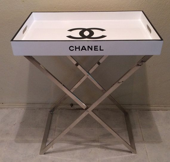 Captivating Fabulous Chanel Replica Tray Table, Cocktail Table Serving Tray Butler Stand  $500 The Tray Is