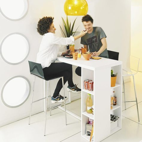 Tavolo alto bianco satinato per sala da pranzo in legno L 120 cm in 2019     Tavolo alto Sala da pranzo in legno Tavolo cucina ikea